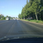 Новый асфальт на Воткинском шоссе в Ижевске, июнь 2016