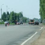 Начало укладки асфальта на Воткинском шоссе в Ижевске, май 2016