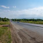Славянское шоссе, новый асфальт в районе выезда из города