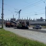 Снимают старый асфальт на Баранова в Ижевске, май 2016